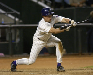 Chad Moeller bunting for the Arizona Diamondbacks